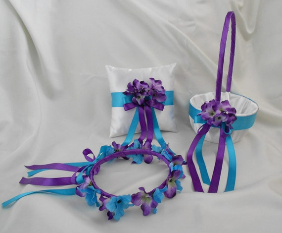 White Purple Turquoise Wedding Accessories Bridal Ring Bearer