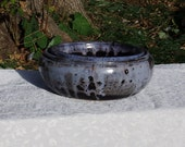 Set of 3 Nesting Bowls in Black and Light Blue Gray Glazes