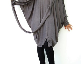 NO.57 Gray Viscose Oversize Knitted Dress, Infinity Scarf Tunic Dress, Cocoon Day Dress