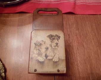 adorable wood mail caddy with  Wire Hair Terriers.