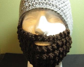 Crochet Bearded Skullcap - Beard Hat - Light Grey Hat With Beard Facewarmer - Ready To Ship!