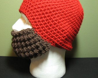 Crochet Bearded Skullcap - Beard Hat - Red Hat With Beard Facewarmer - Ready To Ship!