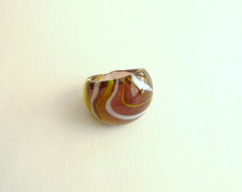 White and Yellow Swirl Purple Glass Ring Size 6.5