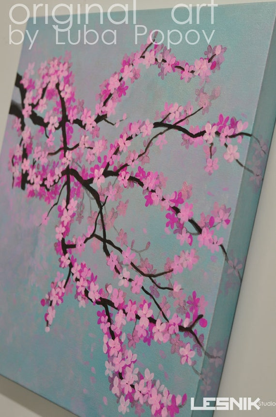 Items similar to cherry blossom on canvas made to order for Cherry blossom canvas painting