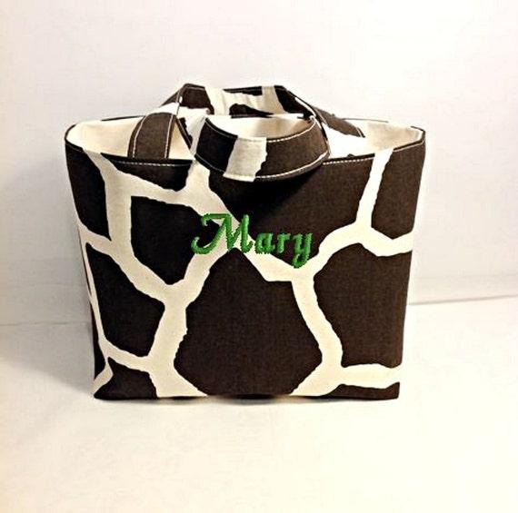 Organizer Basket Extra Large, Tote Bag Fabric Handmade Tote Giraffe Print