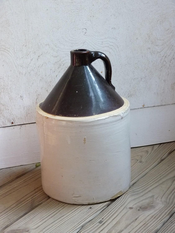 Antique CROCK JUG Handled Vintage Pottery Old Bottle Salt