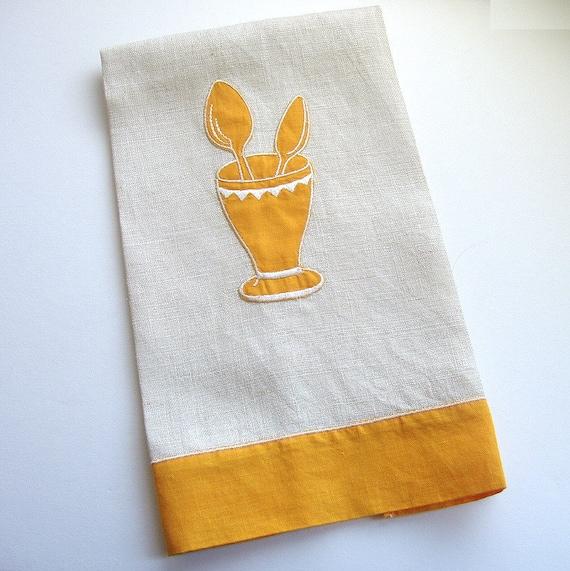vintage soda fountain linen tea towel gold & white ice cream parlour malt shop kitchen towel milkshake glass spoons
