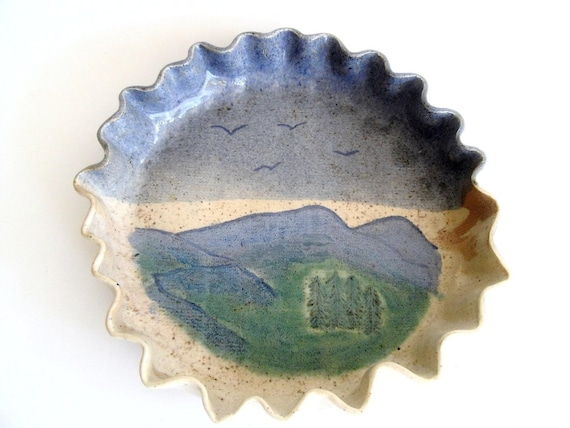 Studio Pottery. Folk Art. Smoky Mountain Scene. Collectible signed A. Ward.