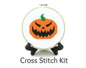 Jack O' Lantern Carved Halloween Pumpkin Cross Stitch KIT