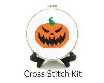 Jack O' Lantern Carved Halloween Pumpkin Cross Stitch KIT