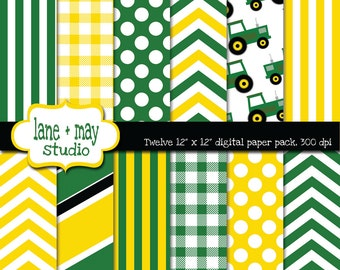 digital scrapbook papers - green and yellow tractor theme - INSTANT DOWNLOAD