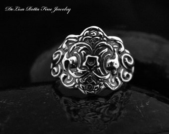 Recycled Silver, Victorian Style, Hand Carved, Ring Promise or Fashion Ring, Gift