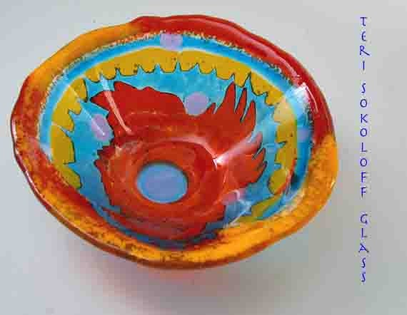 Colorful Art Glass Bowl