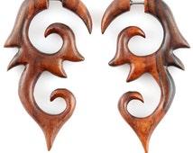 "Fake Gauge Earrings - Wood Tribal Earrings Fake Piercing - Sono Wood ""Sun Shield Spiral"" Earrings - No Holes Barred Wood Jewelry"