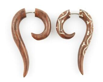 """Fake Gauge Earrings - Wood Tribal Earrings Fake Piercing - Organic Sono Wood """"Inlaid Flower Hook"""" Earrings - No Holes Barred Wood Jewelry"""