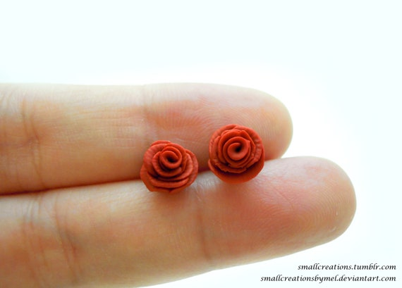 Polymer Clay Rose Stud Earrings