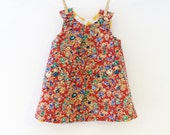 Girls A-Line Dress - Age 18-24 months - Liberty of London Cord and Yellow Chevrons