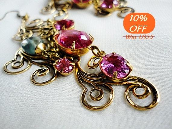 End Of Summer SALE,Pink Topaz Earrings,Art Deco Earrings,Gemstone Chandelier Earrings,Wedding Jewelry,Brass Angel's Wings