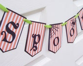 Spooky Handmade  Halloween Party Banner - Paper Bunting - Photo Prop - Home Decor
