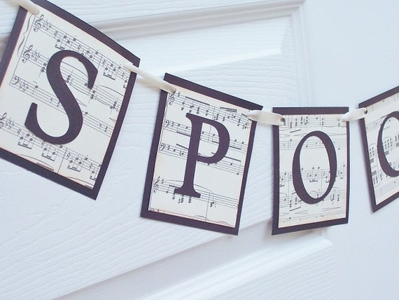 Spooky Handmade Sheet Music - Halloween Party Banner - Paper Bunting - Photo Prop - Home Decor