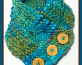 Chunky Knit Cowl Scarf with Handmade Wooden Buttons