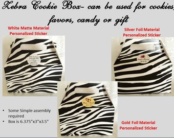 5 Zebra pattern Cookie/Candy Favor Boxes w Handles Personalized 4 Wedding, Birthday etc.