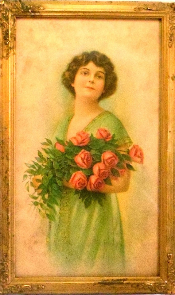 Victorian Print Of a Beautiful Young Woman in A Wonderful Victorian Frame