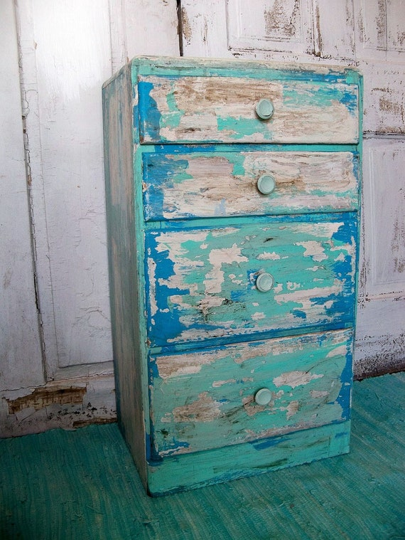 Shabby Beach Cottage Distressed Table With Drawers Aqua Blue