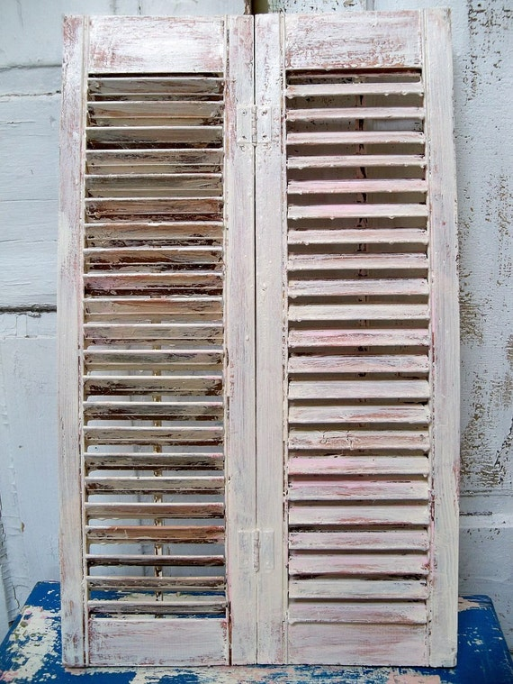 Vintage cream and pink shutter wooden shabby chic tobacco finished home decor  Anita Spero