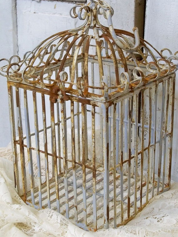 Heavy wrought iron bird cage French provincial chic rusty distressed box Anita Spero