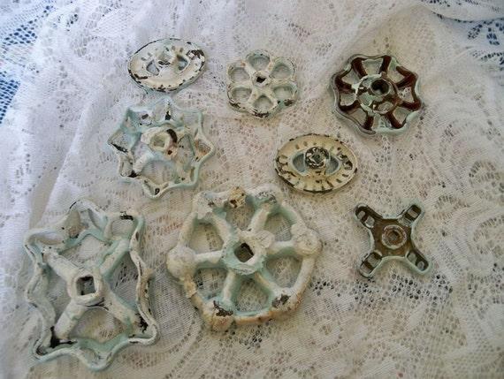 Metal flower faucet knob handles lot beach aqua collection garden decor home decor Anita Spero