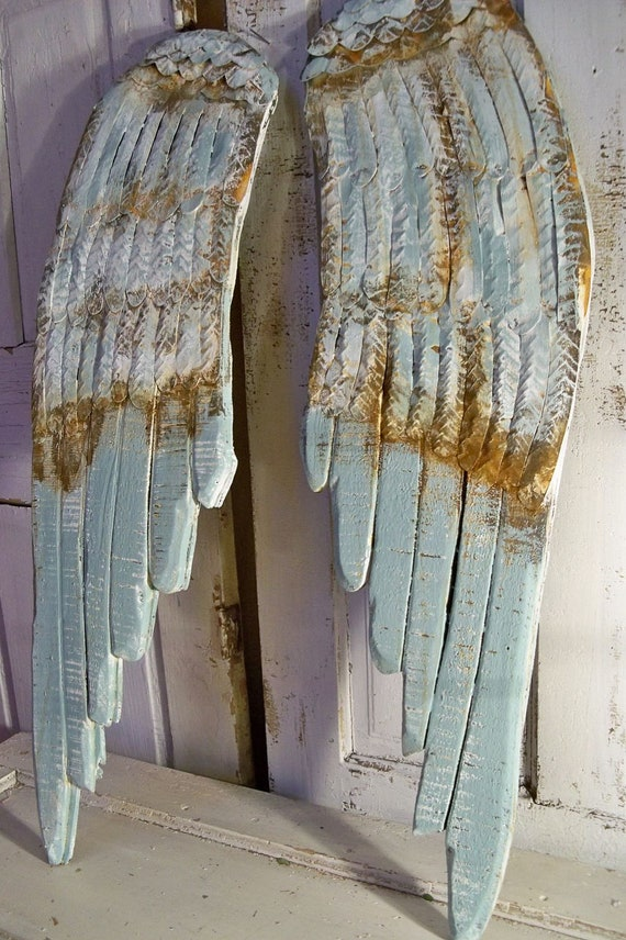 Large Wood Metal Wings Carved Wall Sculpture Rusty White And
