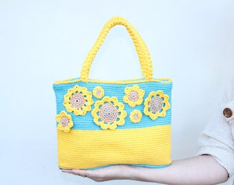 "Crochet bag ""Ukraine flag""  / Crochet bag OOAK  / yellow and blue colors / handmade bag"