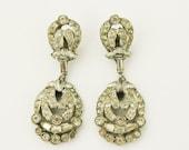 Vintage clip on earrings c.1950s with rhinestones