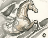 "Horse Art painting 2012 Olympic Equestrian Show Jumping by Anna Noelle Rockwell, unframed-""Emergence"""