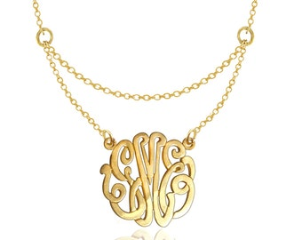 Handmade Monogrammed Neckalce - Small To Large Initials (Order Any Initials) - Sterling Silver w/ 24K Gold