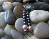 FREE SHIPPING.  Winter's Dawn. Freshwater Pearls and Copper Dangle Earrings, Elegant, New for Fall
