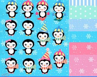 Cute Penguins Clip Art Set