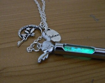 Magical Glow In The Dark Lariat Silver Necklace. Fairy. Angel. Kitsh