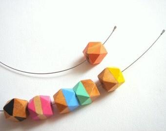 Set Geometric Wood Necklace and Bracelet,Do it Yourself Geometric jewelry