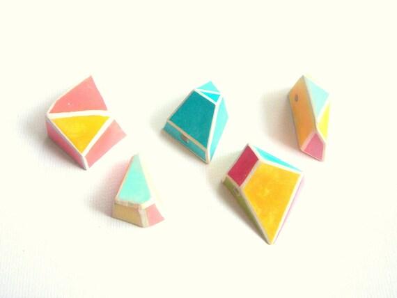 Neon Geometric  Pendans, Do it Yourself Geometric Necklace,Hand Painted Ceometric beads