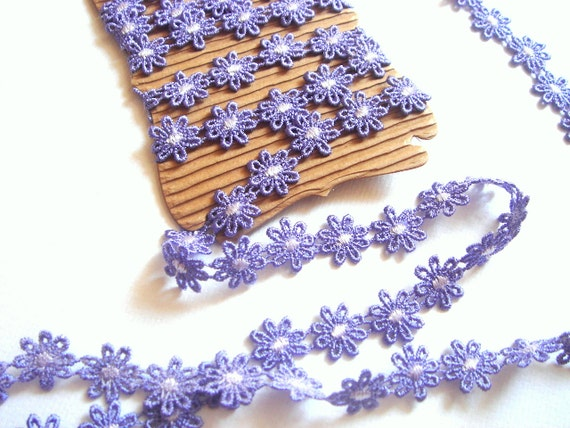 Lavender Flower Ribbon Trim, Lace Trim 3 yards