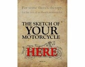 Your own motorcycle HANDMADE SKETCH, send a photo of your motorcycle