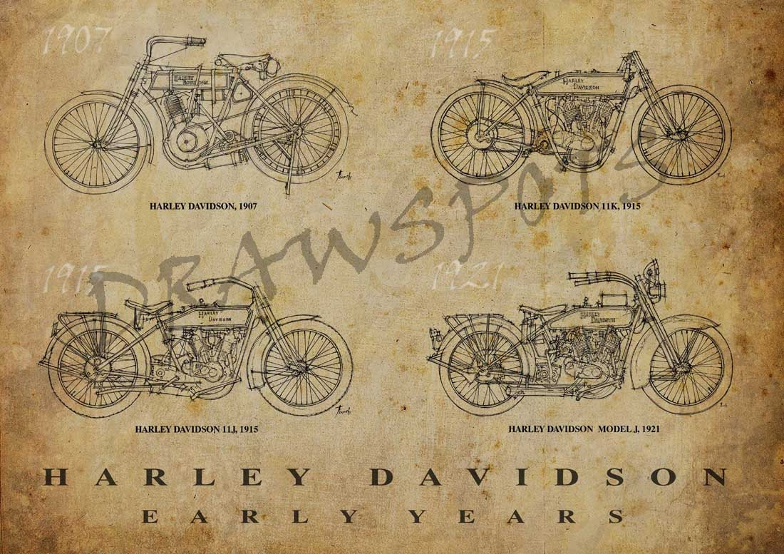 HARLEY DAVIDSON Early Years, Based on my Original Handmade Drawings ...
