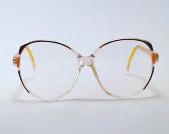 Vintage 80s Oversized Transparent/Purple Frames/Glasses.