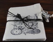 Hand-stamped Vintage Inspired Muslin Drawstring Gift Bags With Bead Accents - 4x6
