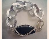 NEW Silver wire wrapped black stone chunky bracelet