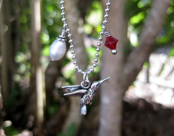 Hummingbird, Pearl and Ruby Glass Bicone Charm Necklace on Silver Plated Chain