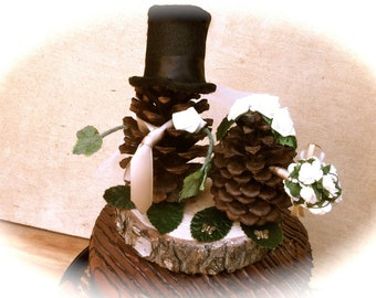 Pine Cone Wedding Topper Bride Groom Rustic Fall Weddings