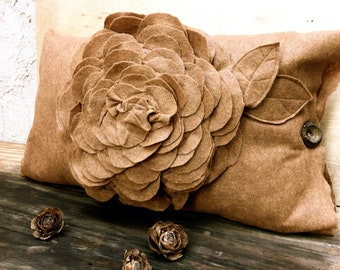 Brown felt flower pillow case unique rustic home decor